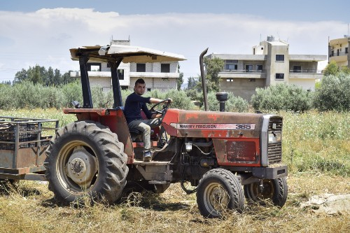 A man driving a tractor in a field