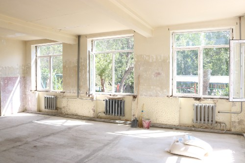 A room in a school before it has been renovated