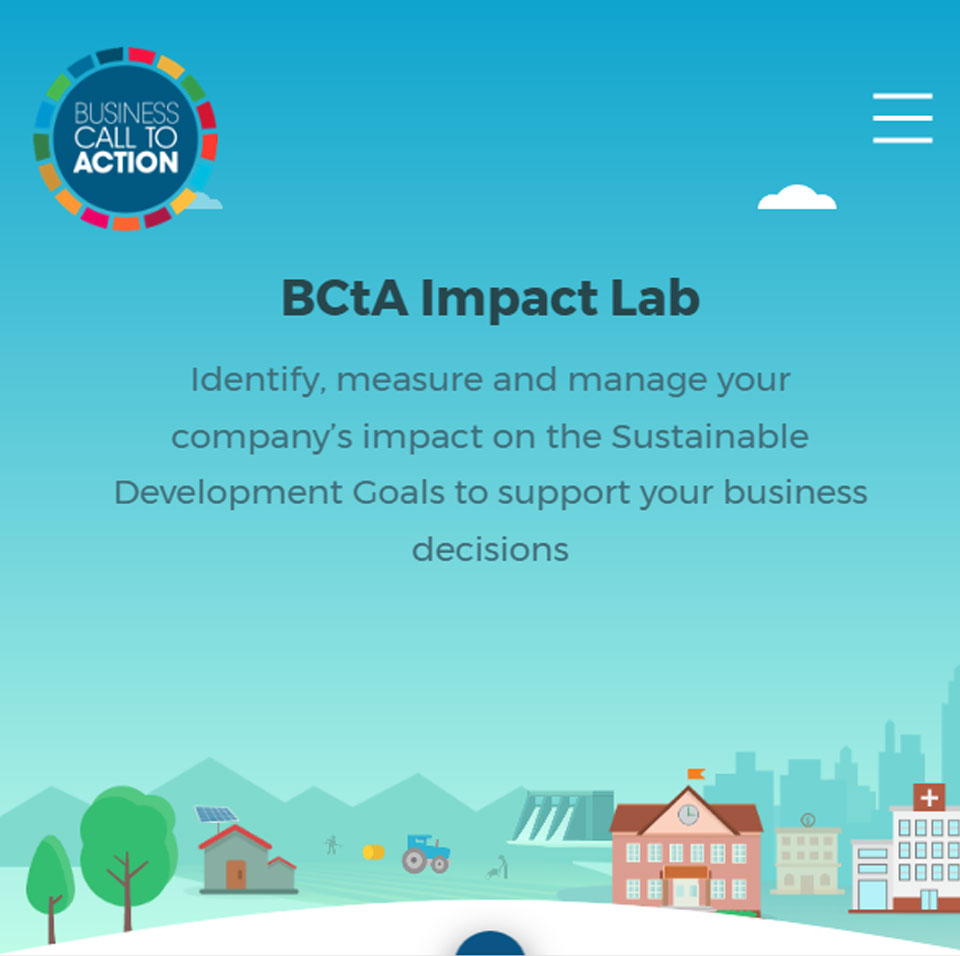 The front page of the BCtA Impact Lab website - An animated small town with a farm and a big city in the background