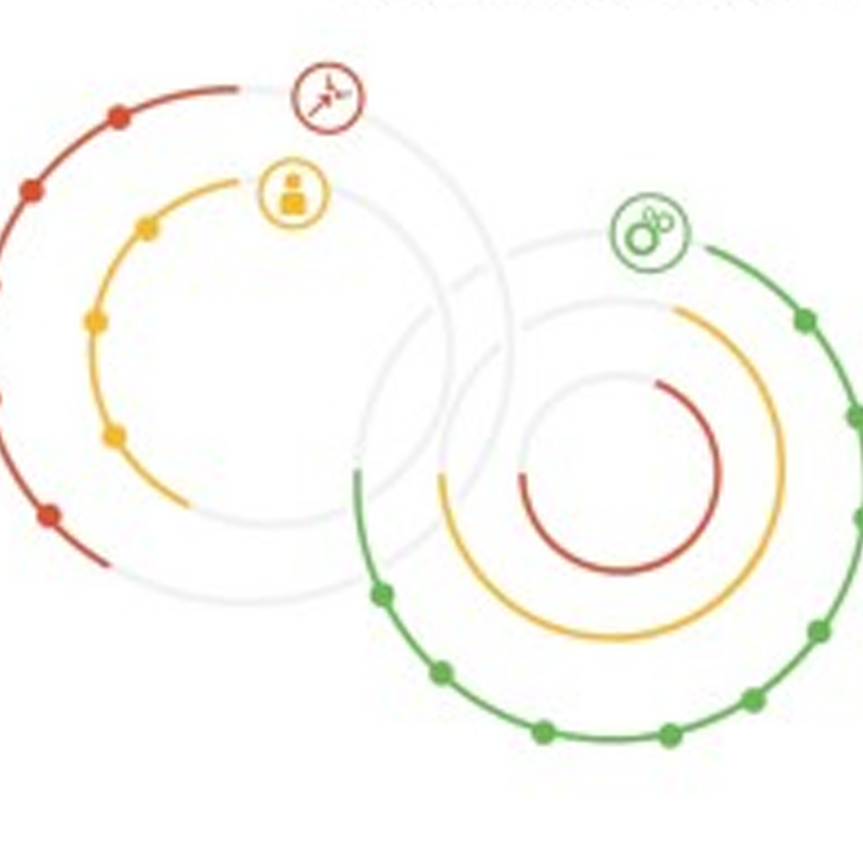 Half and three quarter full circles making use of the SDG colour schemes