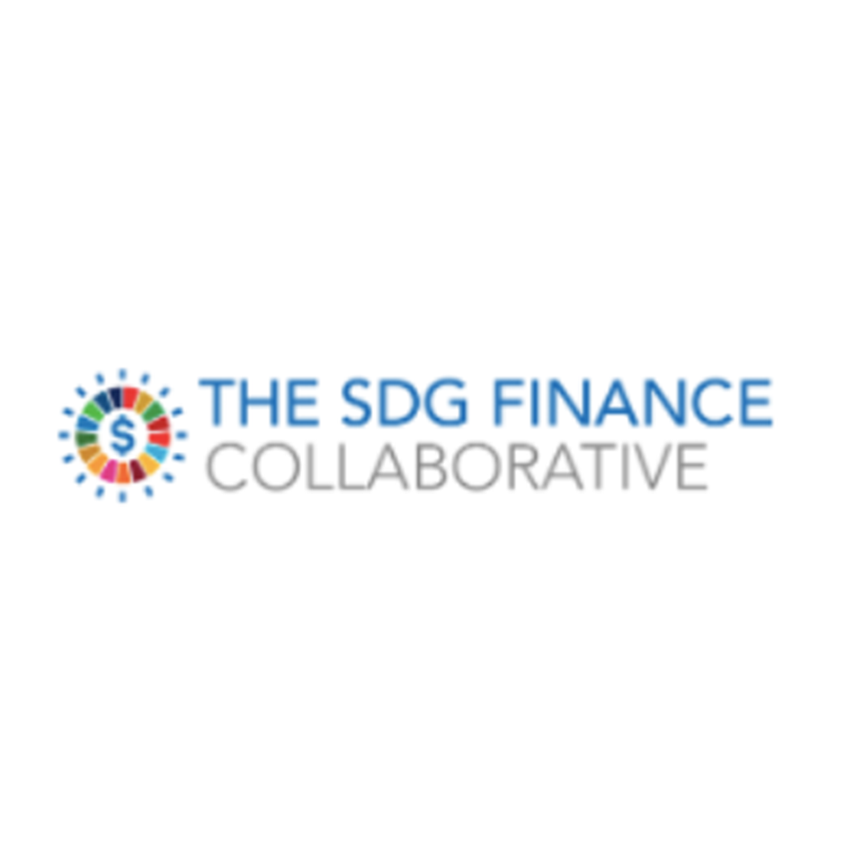 The SDG Finance Collaborative Logo - The SDG Wheel with all 17 SDG colours and a money sign in the middle of the wheel