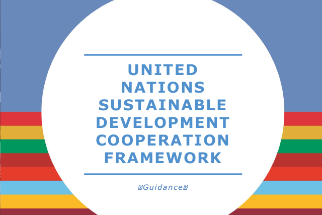 The front cover of UNCDF Guidance Document - Multi-coloured horizontal lines and a blue title on a white circular background